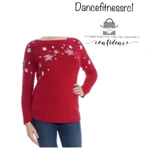 Style & co embroidered star women sweater red